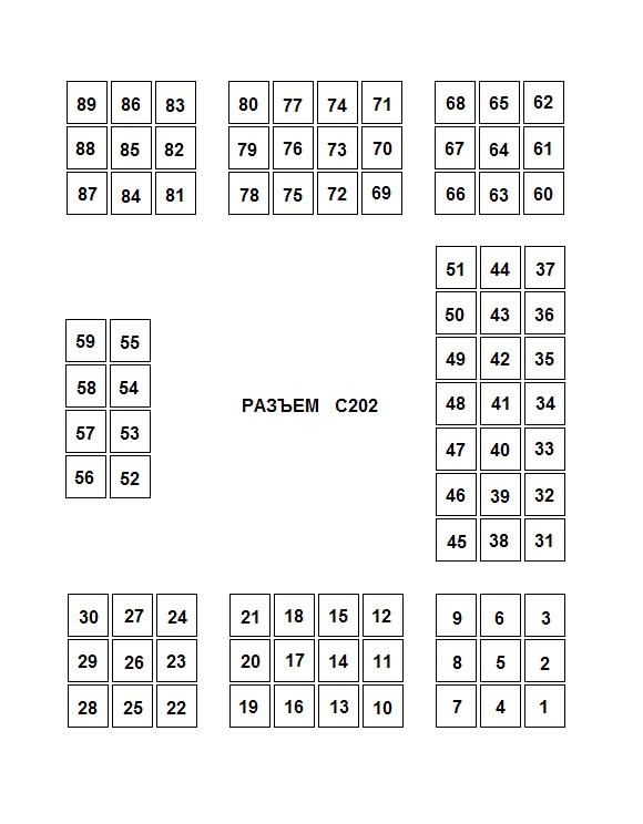 Описание цепей и контактов разъема С202