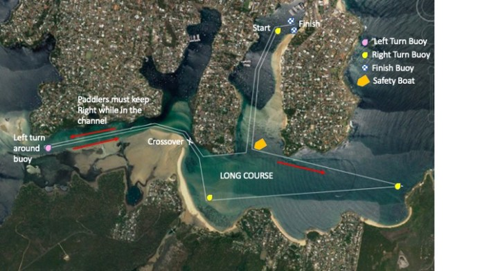 Satellite map of Hacking Classic long course, with turns, safety boat and finish line marked.