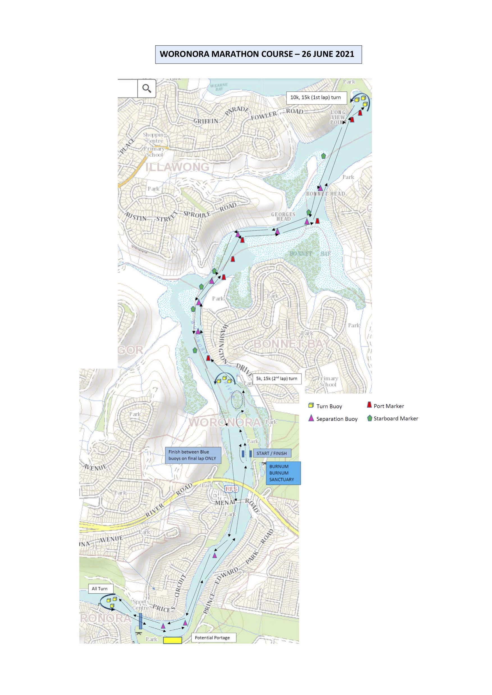 Woronora marathon race course map 2021