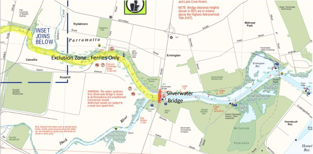 Map showing a segment of Parramatta River and the exclusion zone west of Silverwater Bridge.
