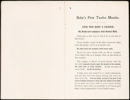 Breast feeding. Give baby a chance. 'Baby's First Twelve Months' leaflet. NRS 324 [7/5483 letter 14/11441, pp4-5]
