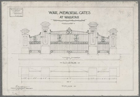 War Memorial Gates Waratah. Digital ID NRS18195_0000028
