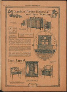 Advertisement for furniture at David Jones, from The Pastoral Review, 15 August 1915. From NRS 12060 [9/4696 letter 15/729, Pastoral Review, inside back cover].