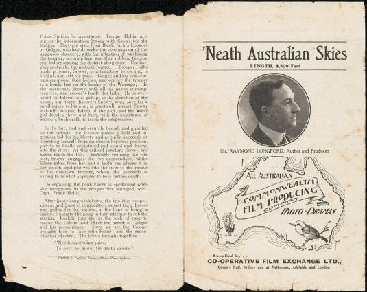 'Neath Australian Skies promotional film flyer. From NRS 905 [5/8055 letter 19/44844, cover].