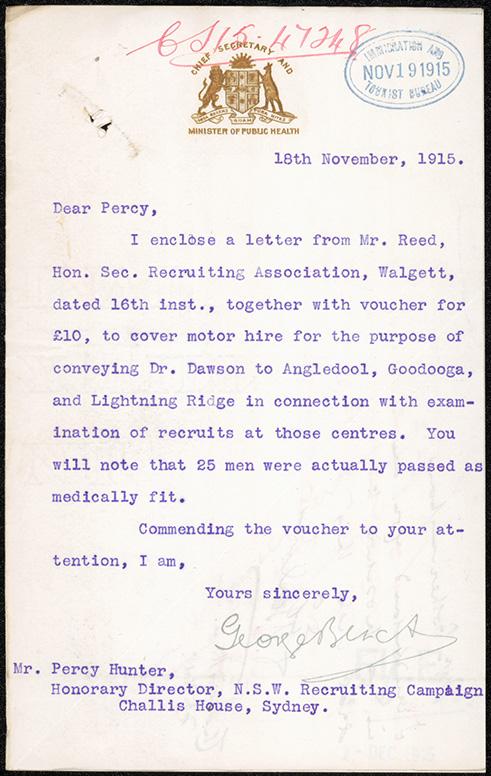 Fig 5: Letter, Chief Secretary Black, 18/11/1915.