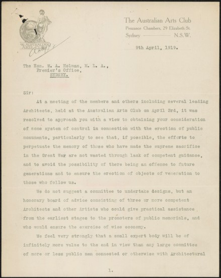 Fig 10: Letter from Australian Arts Club, 9/4/1919, p. 1. From NRS 12060, [9/4923A], A25/785