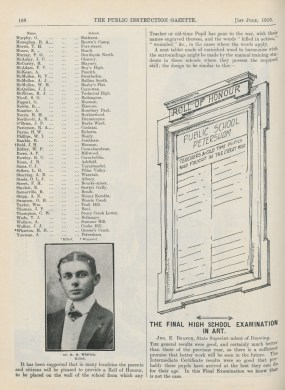 Fig 1: Example of honour roll design, Public Instruction Gazette 1/7/1915. From AK698, 1915, p. 168