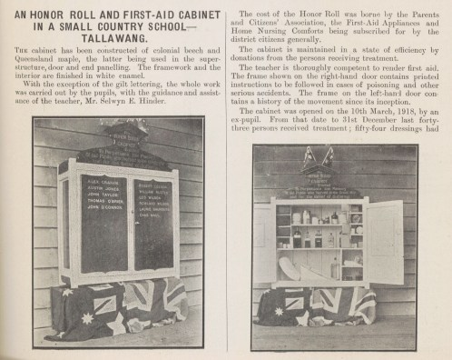 Fig 5: Tallawang Public School honour roll and first-aid cabinet, Education Gazette, 1/3/1919. From AK698, 1919, p. 59