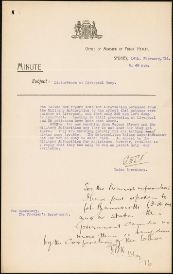 [Fig. 7] Chief Secretary's minute, 2.45pm. From NRS 12060 [9/4715] letter A16/798