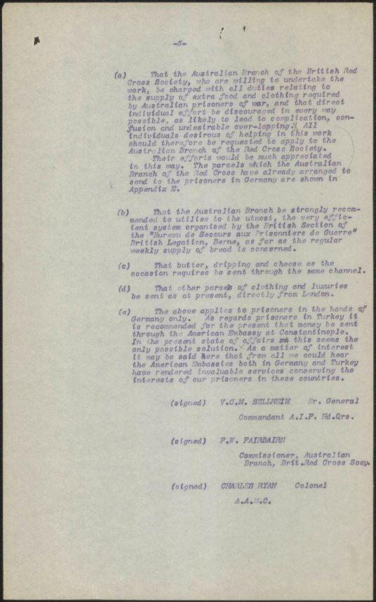 [Fig. 8] Red Cross Report on visit to France and Switzerland in connection with Australian Prisoners of war. From NRS 12060 [9/4724] letter 16/5171, p.5.
