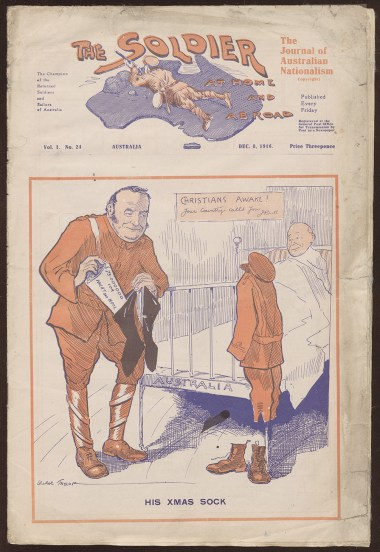 Front cover of The Soldier at home and abroad magazine. From NRS 12060 [9/4737 letter B16/5631], Vol 1, No. 24, 8 Dec 1916.