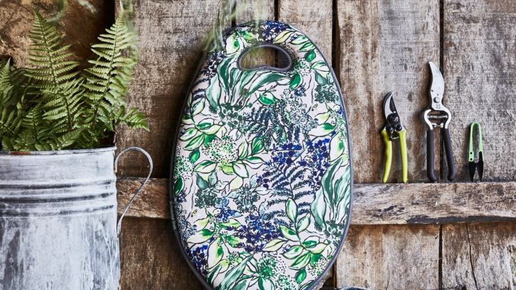 A selection of garden accessories featuring the new spring print.