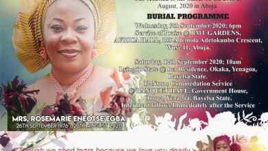 Photo of Obituary: Mrs. Rosemarie Eneotse Egba