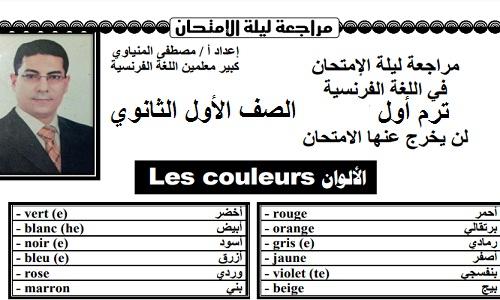 مراجعة ليلة الامتحان لغة فرنسية للصف الأول الثانوي الترم الأول