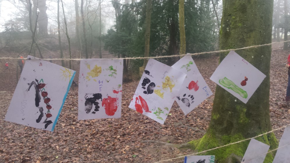 Some of the excellent wildlife track prints and finger paintings made by the kids.