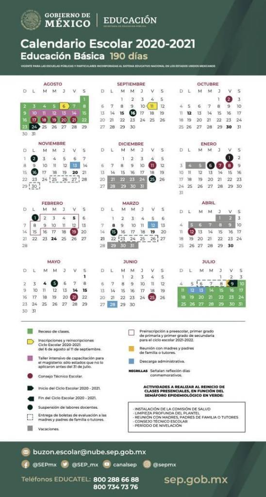 calendario escolar 2020 2021 educación básica