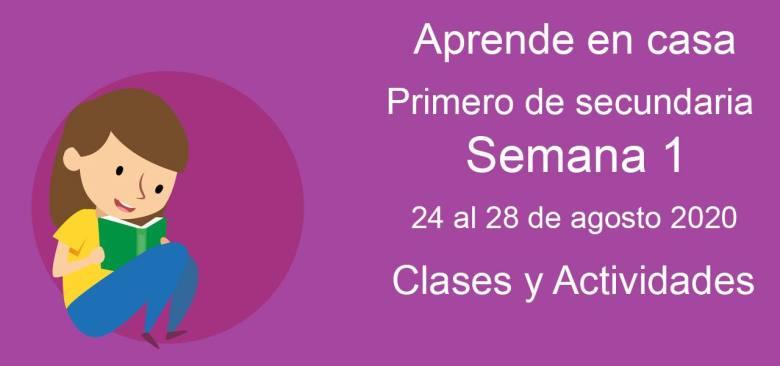 Primero de secundaria: Actividades y materiales de la semana 1 Aprende en Casa (24 al 28 de agosto)