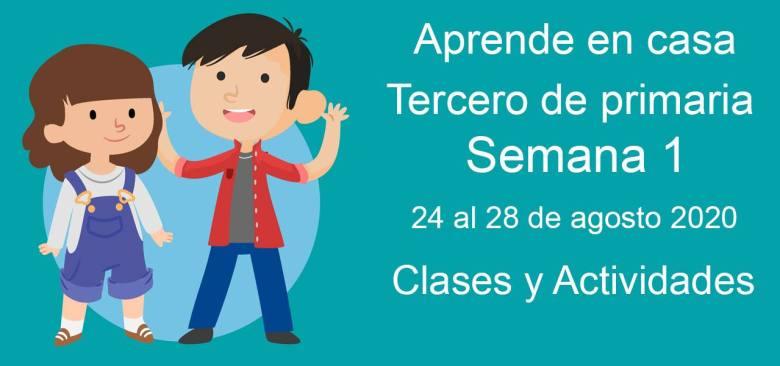 Tercero de primaria: Actividades y materiales de la semana 1 Aprende en Casa (24 al 28 de agosto)