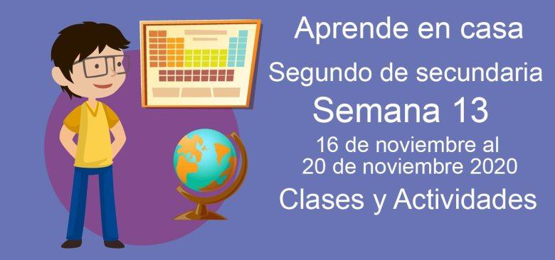 Aprende en casa Segundo de Secundaria semana 13 del 16 al 20 de noviembre 2020 clases y actividades