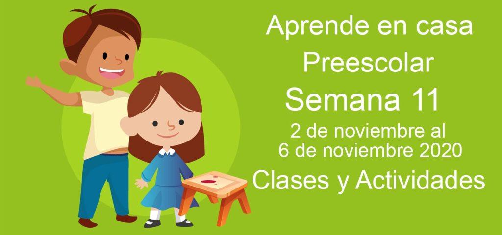 Aprende en casa Preescolar semana 11 del 2 al 6 de noviembre 2020 clases y actividades