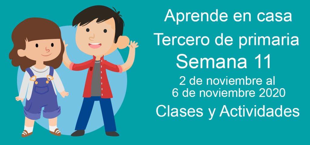 Aprende en casa Tercero de Primaria semana 11 del 2 al 6 de noviembre 2020 clases y actividades