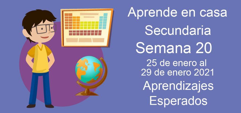 Secundaria: Aprendizajes esperados aprende en casa semana 20 del 25 al 29 de enero aprende en casa