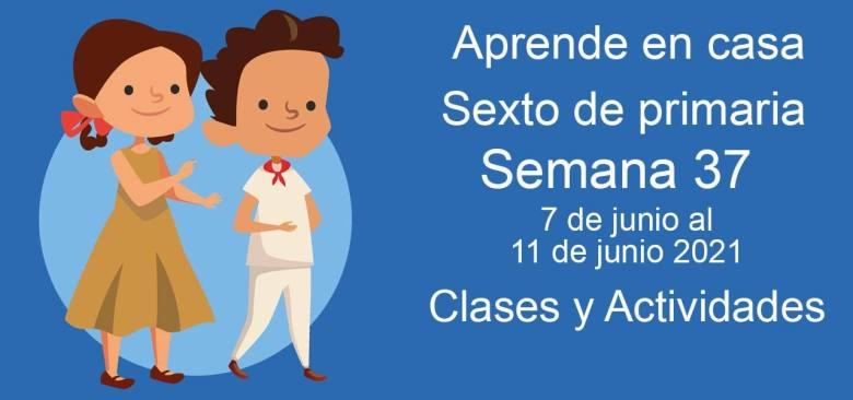 Aprende en casa sexto de primaria semana 37 del 7 de junio al 11 de junio 2021 clases y actividades
