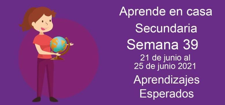 Secundaria: Aprendizajes esperados aprende en casa semana 39 del 21 al 25 de junio 2021 aprende en casa