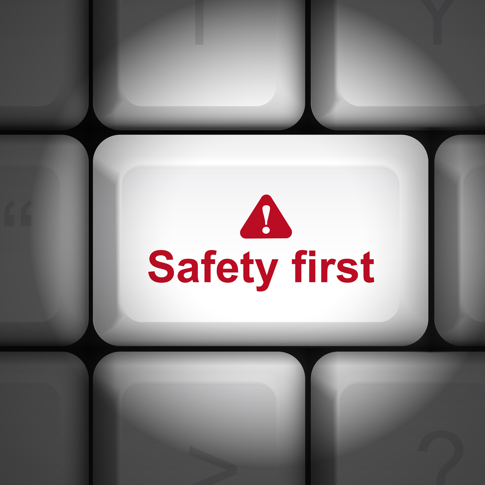 Safety First Concept With Computer Keyboard