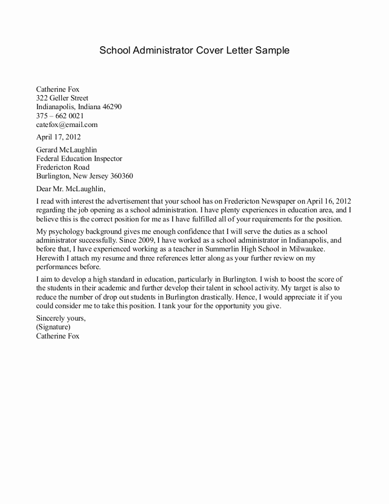 Christian School Administrator Cover Letter School Secretary Cover Letter Template Collection Letter Cover