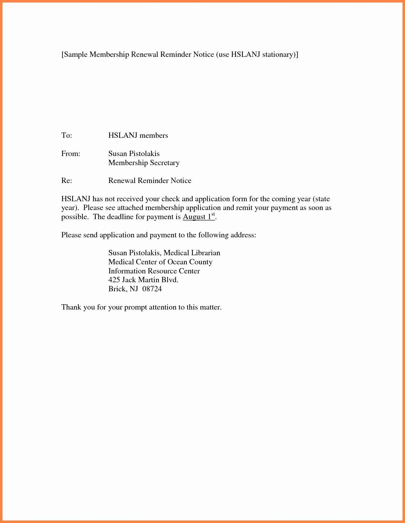 Lease Renewal Reminder Letter Template Samples Letter