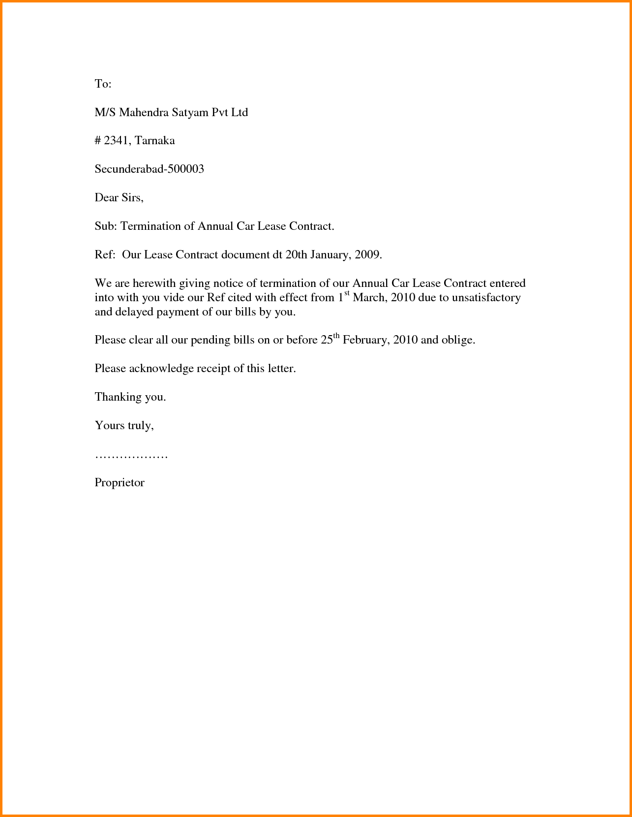 Generic Termination Letter Rental Termination Letter Template Examples Letter Cover Templates