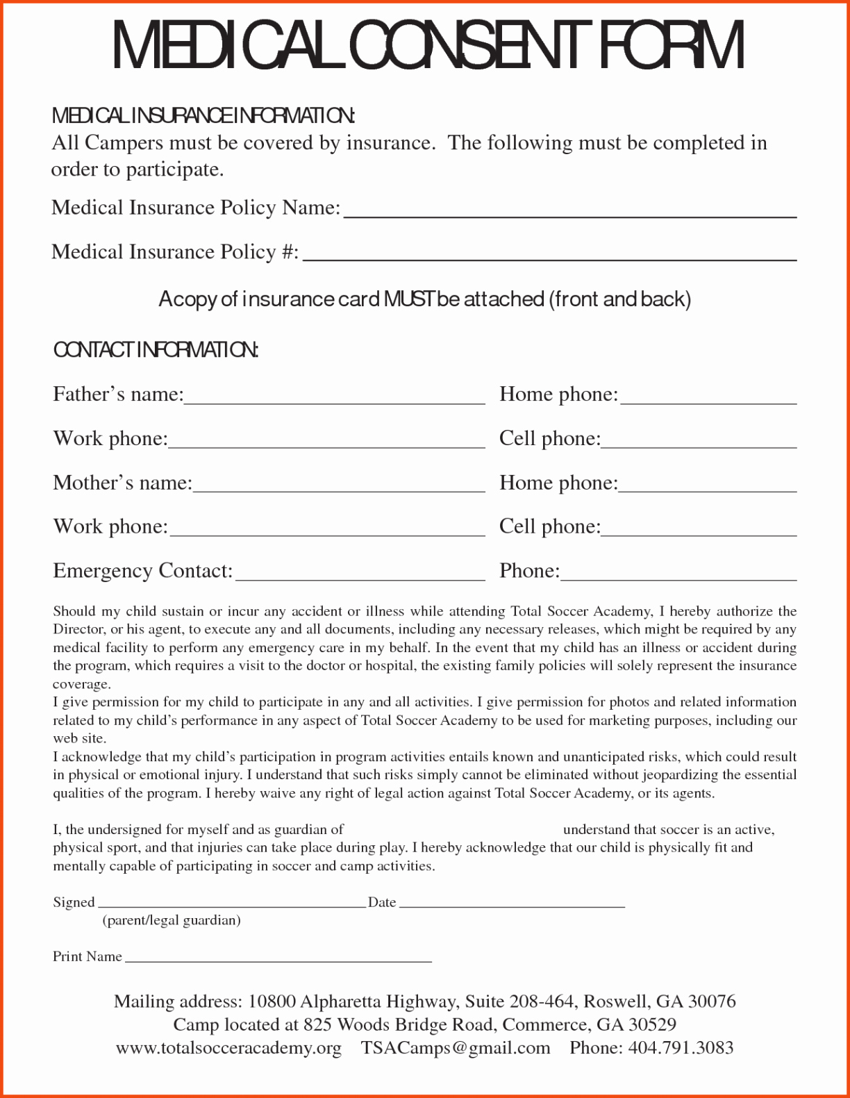 Medical Consent Letter For Grandparents Template