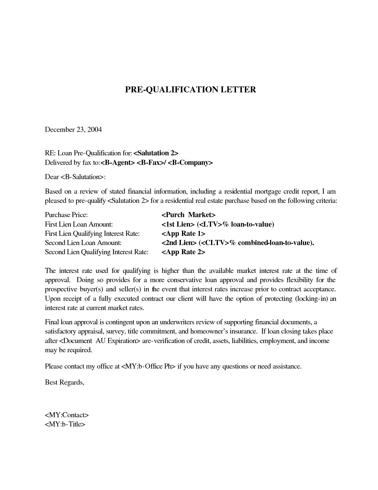 Mortgage Pre Qualification Letter Template Collection