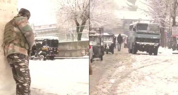 Encounter between snowfall in Srinagar