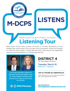 M-DCPS Listening Tour for our Strategic Blueprint @ ZOOM