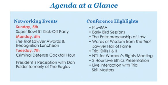 Agenda highlights and networking events