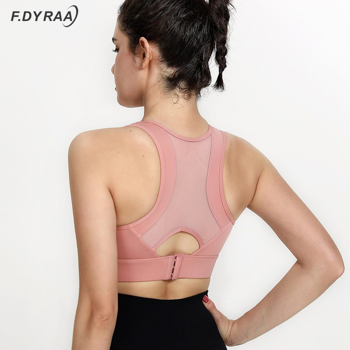 F DYRAA Sports Bra High Impact Support Woman Push up Sexy Beautiful Back Yoga Padded Crop