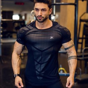 Mens Compression T shirt Jogger Sporting Skinny Tee Shirt Male Gyms Fitness Bodybuilding Workout Black Tops