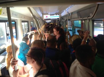 The crowded trams