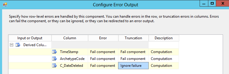 SSISConfigureError output