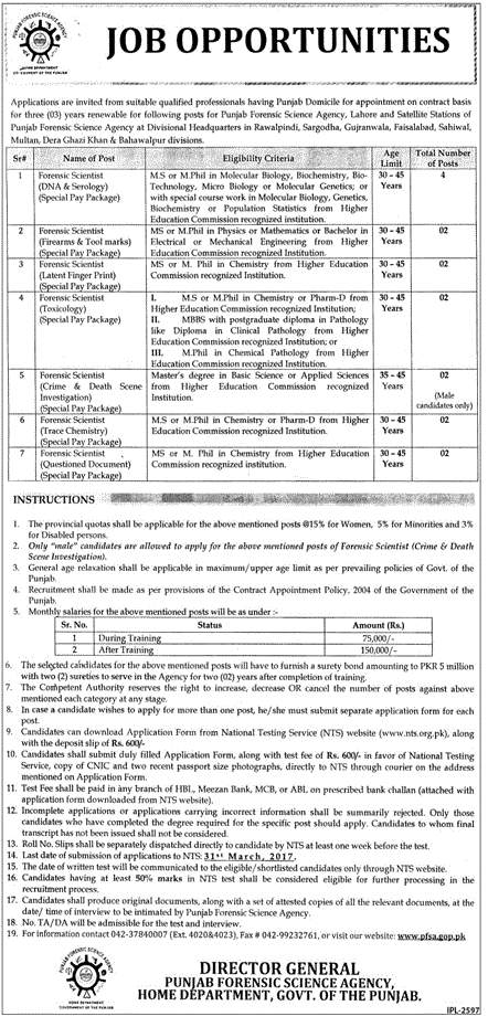 Punjab Forensic Science Agency NTS Jobs 2019 Application Form