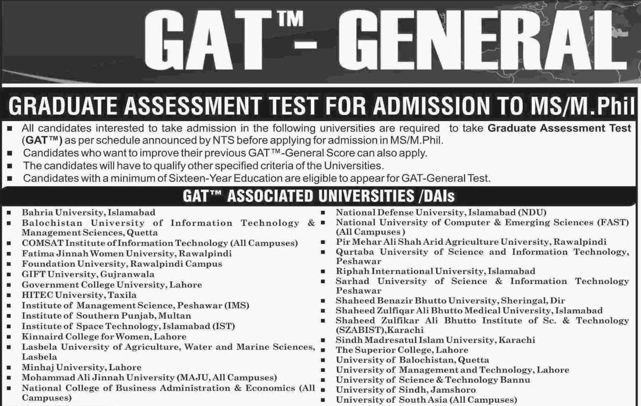 Graduate Assessment Test NTS GAT General 2019-IV Results 21
