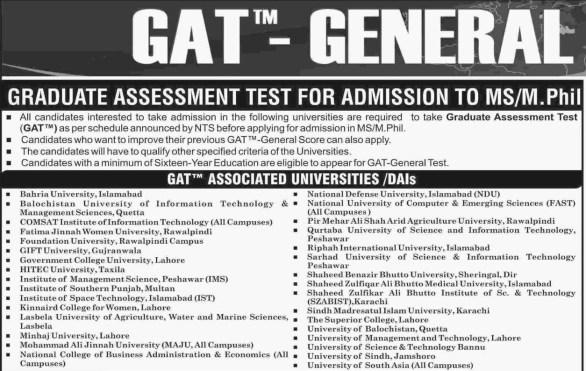Graduate Assessment Test NTS GAT General 2019-IV Results 21 July 2019