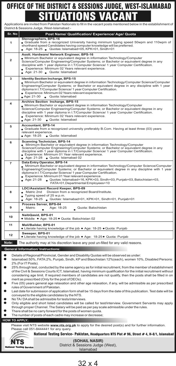 District and Session Court Islamabad Jobs 2019 NTS Application Form