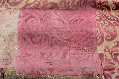 Pink damask patch no. 2 applied upside down from Spangled bed ©National Trust/Textile Conservation Studio.