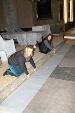 Rerolling Gideon on site ©National Trust/Textile Conservation Studio