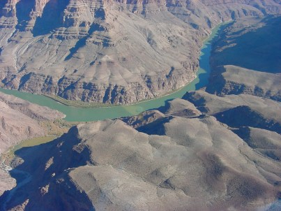 Aerial view of the Colorado River, on the southwestern rim of the Grand Canyon on the Hualapai Indian Reservation.