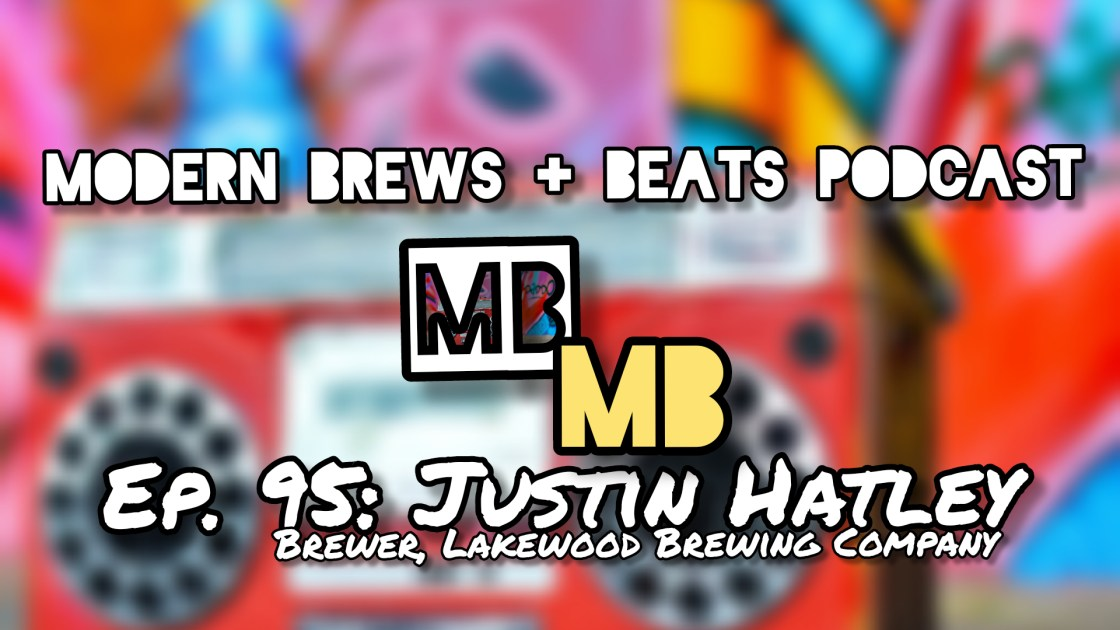 Picture of a boombox against a graffiti wall as the cover for Modern Brews + Beats 95: Justin Hatley