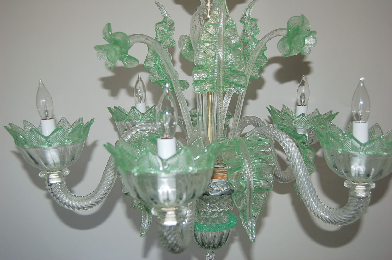 Vintage Murano Glass Chandelier of Clear Opaline with Green Accents  Swank Lighting